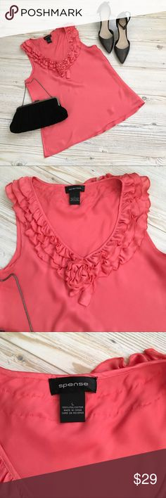 Spense Silky Coral Blouse w/Ruffle Rose Neckline Spense EUC Silky Coral Blouse with Ruffle Rose Neckline.  Size Large, 100 % Polyester, Armpit to Armpit 22, Shoulder to Hem 30. Spense Tops Blouses