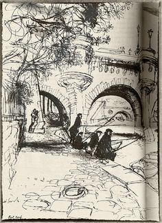 Ronald Searle, Paris Sketchbook, Pont Neuf. Beautiful.