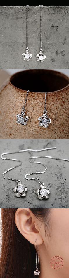 BeBe Kitty Newest 1 pair 925 Silver Fashion Jewelry Crystal Ear Wire Sale Charming Earrings Ear Line Long Chain Fine Jewelry