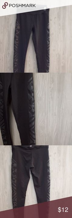 Black Geometric Detail Workout Leggings Black Geometric Detail Workout Leggings, Compression Fit, Great Condition (although I removed the tags) Forever 21 Pants Leggings