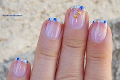 #Summery #blue #dotticure #frenchmanicure French Manicure Nails, French Manicure Designs, Nail Designs, French Nail Art, Easy Nail Art, Nail Tutorials, Simple Nails, Easy Diy, Dots