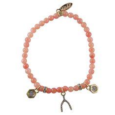 Charmed I'm Sure Wishbone Bracelet in Orange and Gold