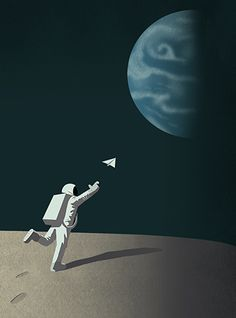 Message in a bottle. Planet, paper, airplane, space, message, nasa, moon, astro, planet, blue, dark, illustration