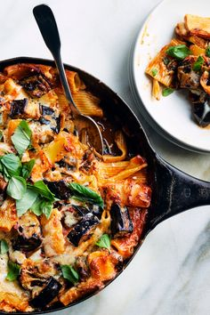 NYT Cooking: Put on your cozy pants and get comfortable with a giant bowl of this cheesy, eggplant-studded pasta. Don't be shy about adding plenty of reserved pasta cooking water to the sauce Pasta Recipes, Baking Recipes, Risotto Recipes, Rice Recipes, Keto Recipes, Ham And Cheese Pasta, Baked Rigatoni, Easy Roast Chicken, Vegetarian Recipes
