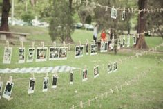 Rock and roll wedding-- clothesline for photo booth or even bride and groom over time?