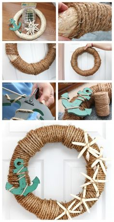 15 diy rope projects that you can easily do in your free time rope crafts, fun Diy And Crafts Sewing, Crafts To Sell, Diy Crafts, Rope Crafts, Craft Wedding, Crafts For Teens, Craft Videos, Craft Tutorials, Burlap Wreath