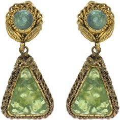 Pre-owned Chanel Vintage Green Triangle Dangling Earrings ($595) ❤ liked on Polyvore featuring jewelry, earrings, green earrings, green dangle earrings, green pendant, round pendant and leaf earrings