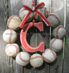 The Original Baseball Wreath  With Distressed by BabyToesbyChristy, $57.00