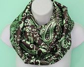 brown and green paisley print color infinity scarf, satin nomad cowl, woman/girl multicolored fall scarf, spring scarf