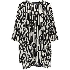 Transparente Black / White Plus Size Letter print tunic ($120) ❤ liked on Polyvore featuring tops, tunics, black, plus size, leather tops, women's plus size tops, striped tunic, 3/4 sleeve tunic and plus size tunics