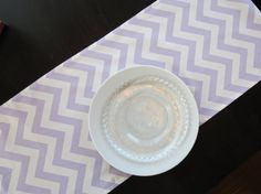 Lilac Purple & White Chevron Table Runner, Modern Runner for Parties, Showers, Wedding, Wedding Decor Chevron Table Runners, Lilac, Purple, Home Goods, Unique Jewelry, Tableware, Handmade Gifts, Shop, Vintage