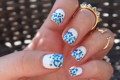 Fourth of July Manicure | Spotted Nails | Mani | Blue and White Dotted Nails  http://miascollection.com