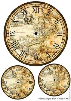 Natural History: This would make a neat print for framing and/or decoupage. Vintage Maps, Vintage Labels, Vintage Ephemera, Vintage Prints, Vintage Clocks, Clock Art, Diy Clock, Wall Clocks, Clock Face Printable