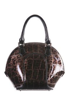 Bravo Handbags Svetlana Brown Crocodile Bowler