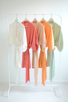 Image of Samantha bridal silk kimono robe bridesmaids robes in Earth colors - style 300 (Coral)