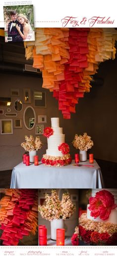 Check out this awesome cake table display by We + You and Romanos Bakery in the latest issue of Brides of North Texas! Photos by Tracy Autem Photography #wedding #cake #table #ombre #coral #floral #red