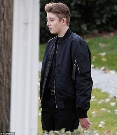 Barron was seen leaving the White House with his father, President Donald Trump, and mother, first lady Melania Trump, on Tuesday afternoon. Donald Trump Son, Donald Jr, Bruh Man, Trump Baby, Trump Is My President, Trump Birthday, Shirt Tucked In, Satin Bomber Jacket, First Lady Melania Trump