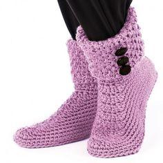Free Women Slipper Crochet Patterns | Mary Maxim - Crochet Buttoned Cuff Boots...they look cute
