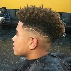 Black men's hairstyles are unique, effortlessly stylish and cool. Since you have naturally curly hair type it would be better for you to sport a haircut that. Side Cut Hairstyles, Curly Pixie Hairstyles, Black Men Hairstyles, Curly Hair Men, Boy Hairstyles, Curly Hair Styles, Haircuts For Men, Shoulder Length Curly Hair, Shoulder Hair