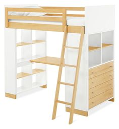 Made by a family-owned company in New York, the Moda loft brings modern, functional design to kids' furniture. It features a clever, space-efficient design with multiple desk and bookcase storage options. Crafted from solid maple and durable MDF, you can choose from wood finishes and an array of bright colors. Our Moda loft beds meet or exceed all U.S. government safety standards, as well as CPSC requirements and ASTM standards.