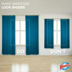 Make small Windows look bigger by hanging curtains higher and wider Grote ramen, kleine ramen, Ikea Curtains, Small Window Curtains, French Curtains, Boho Curtains, Green Curtains, Floral Curtains, Rustic Curtains, Curtains Living, Colorful Curtains