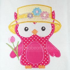 Applique Whimsy Easter Bonnet owl