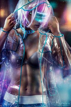 In the future, when nobody flips out about someone wearing a bikini top, or bra, without a shirt covering it up... and people mind their own business - cyberpunk girl