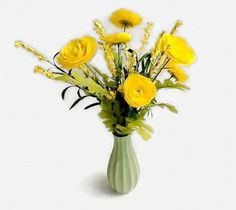 Bright Yellow Ranunculus Floral Arrangement by IllusionCreations, $30.00