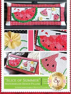 Slice of Summer - Kimberbell Bench Pillow Pattern: The adorable interchangeable pillow cover by Kimberbell Designs is perfect for summer! Instructions for making the pillow form and pillow cover are included in this pattern. Finished size is approximately 16