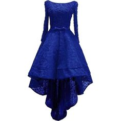 Rongstore Women's High Low Lace Prom Party Dresses with Long Sleeve ($110) ❤ liked on Polyvore featuring dresses, blue prom dresses, lace dress, long sleeve cocktail dresses, blue dress and blue lace dress