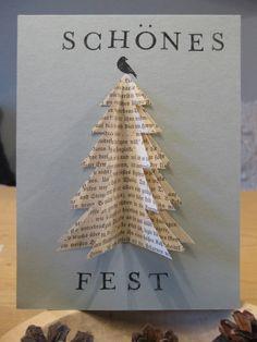 Weihnachtskarte selbermachen aus Papier und alten Buchseiten