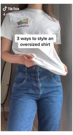 Teen Fashion Outfits, Diy Fashion, Ideias Fashion, Fashion Hacks, Fashion Tips, Casual T Shirts, Cute Casual Outfits, Jugend Mode Outfits, Shirt Hacks