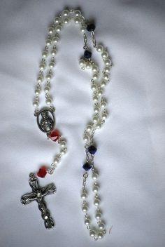 Red White and Blue Rosary by AllToolsPrayerful on Etsy.  New Item on AllToolsPrayerful