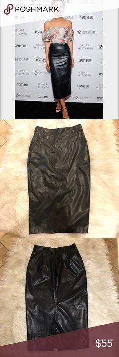 Black Faux Leather Leith Pencil Midi Skirt size 4 In excellent condition. 100% faux leather. It zips up in that back. It is also lined. Hand washable. From Nordstrom Leith Skirts Midi