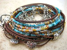 Boho Chic Endless Leather Triple Wrap Beaded Bracelet with Silver Accents~Brown & Turquoise
