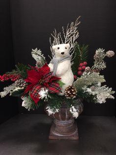 Snowy Christmas Bear 2016 by Andrea Christmas Flower Arrangements, Christmas Flowers, Christmas Candles, Christmas Centerpieces, Christmas Decorations To Make, Rustic Christmas, Christmas Fun, Christmas Wreaths, Christmas Ornaments