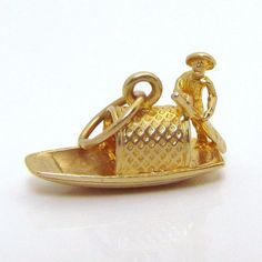 Vintage 14K Gold 3D Chinese Junk Boat Fishing Vessel Charm from charmalier on Ruby Lane