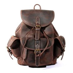 Antique Crazy Horse Leather Backpack For Camping Carry On Luggage Hiking Backpack 8891