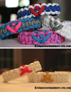 Paracord bracelets with hearts and awareness ribbons