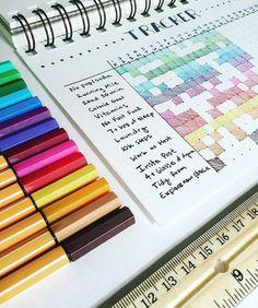 Color Coded Bullet Journal Habit Tracker // via alecfischr