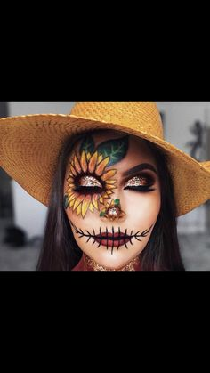 Looking for for inspiration for your Halloween make-up? Browse around this site for cute Halloween makeup looks. Halloween Costumes Scarecrow, Cute Halloween Makeup, Halloween Makeup Looks, Scary Halloween, Scarecrow Makeup, Kids Halloween Face Paint, Halloween Inspo, Halloween Face Paintings, Scarecrow Face Paint