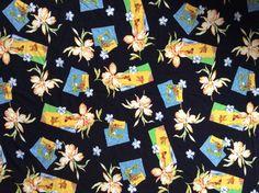 Hawaiian Print Fabric Rayon Aloha Tropical Floral Tiki Pin Up Girl Beach 5 yds #Unbranded