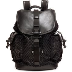 Givenchy Obsedia Netted Leather Backpack (56,670 MXN) ❤ liked on Polyvore featuring bags, backpacks, black, black drawstring backpack, black studded backpack, leather strap backpack, black leather rucksack and drawstring flap backpack