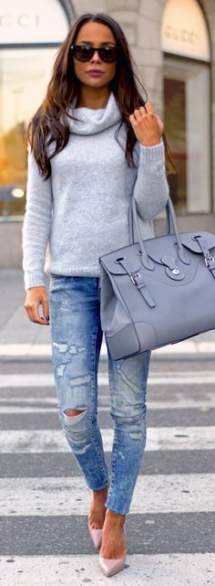 fall fashion gray knit ripped denim