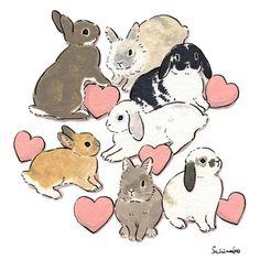 Acrylic Paint by Schinako Moriyama. Schinako Moriyama is an illustrator as bunny art from Fukushima, Japan Continue reading and for more Acrylic art→View Website Rabbit Drawing, Rabbit Art, Bunny Art, Cute Bunny, Cute Drawings, Animal Drawings, Lapin Art, Kawaii, Cute Illustration
