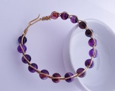 Gold Artistic Wire Bracelet, Natural Purple Amethyst Beaded Bracelet, Wire Work Bracelet - pinned by pin4etsy.com