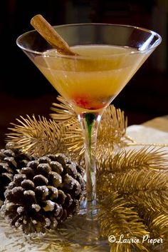 Happy Reindeer (2 oz. rum   1 oz fresh lime juice    1/2 – 1 oz. brown sugar cinnamon syrup, or to taste   Maraschino cherry    Cinnamon stick)