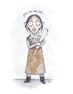The Shining - Wendy Torrance & Bat - 8 1/2 x 11 Illustration Print