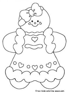 Printable gingerbread girl coloring pages for kids.print out christmas girl gingerbread man coloring pages for kids. Coloring Pages For Girls, Free Coloring Pages, Coloring For Kids, Coloring Books, Adult Coloring, Christmas Gingerbread Men, Felt Christmas, Christmas Colors, Xmas