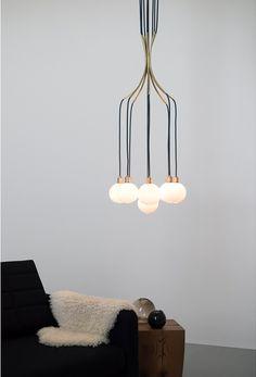 Blown glass pendant lamp DRAPE SKIRT 9 CHANDELIER by SkLO